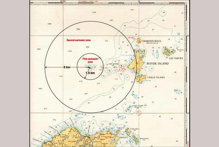 Maritime interests have been told to strictly observe the Kick em' Jenny Volcano Exclusion Zone of 5 km around the summit of the volcano. Illustration courtesy of St Vincent and The Grenadines' National Emergency Management Organisation