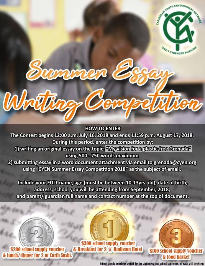 Summer Essay Writing Competitioncyen Grenadav  Now Grenada Summer Essay Writing Competitioncyen Grenadav